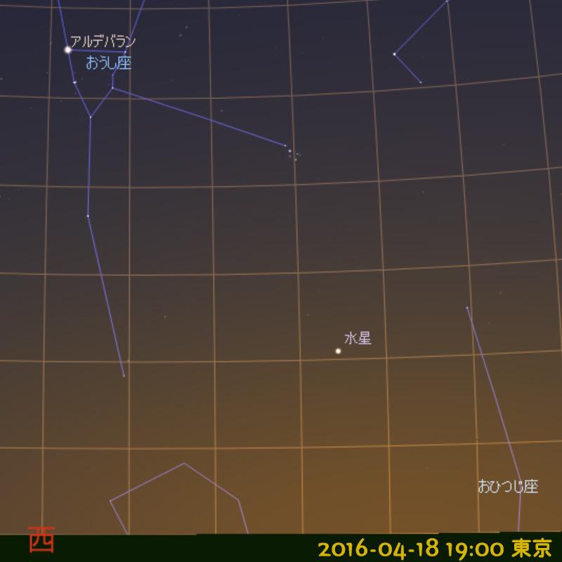 2016年4月18日 午後7時の水星