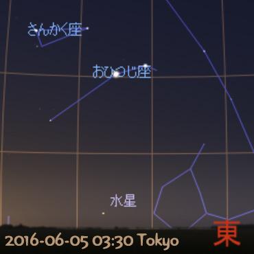 2016年6月5日 水星の西方最大離角