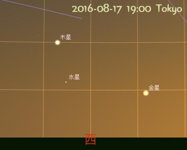 水星 東方最大離角 (2016-08-17)