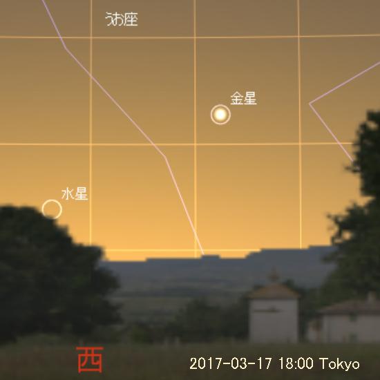 2017年3月17日 18時の水星と金星