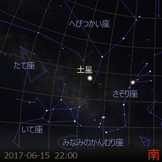 衝を迎える土星 (2017-06-15)