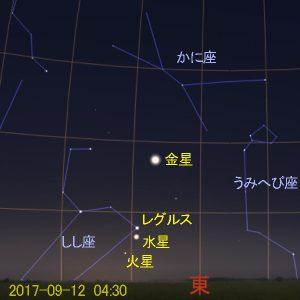 水星の西方最大離角 (2017-09-12)