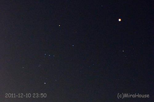 2011-12-10 23:50:34 皆既中の月とオリオン座