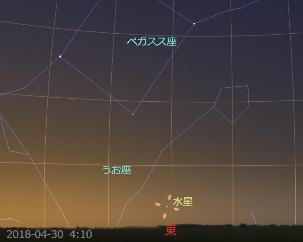 2018年4月30日午前4時10分 水星の西方最大離角