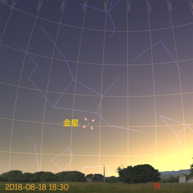 金星の東方最大離角(2018-08-18 18時30分)