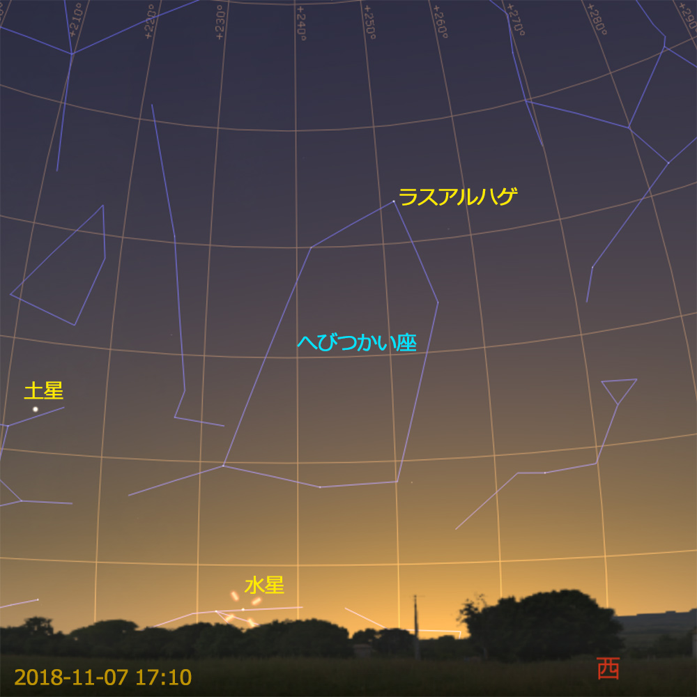 水星の東方最大離角(2018-11-07 17時10分)