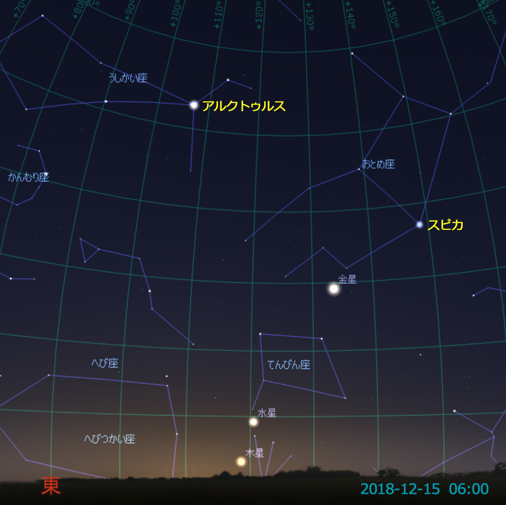 水星の西方最大離角(2018-12-15)