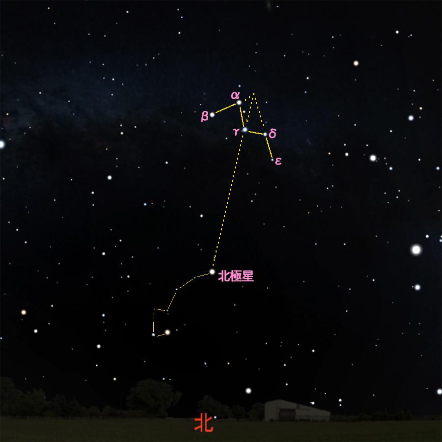 カシオペヤ座と北極星の星図 (1)