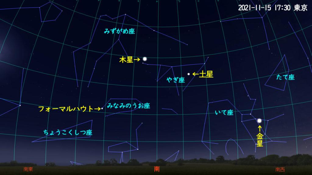 木星と土星(2021年11月15日 17時30分)