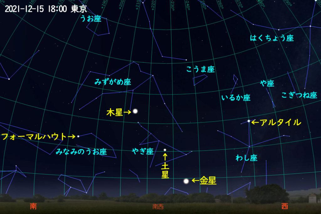2021年12月15日 18時の木星と土星と金星